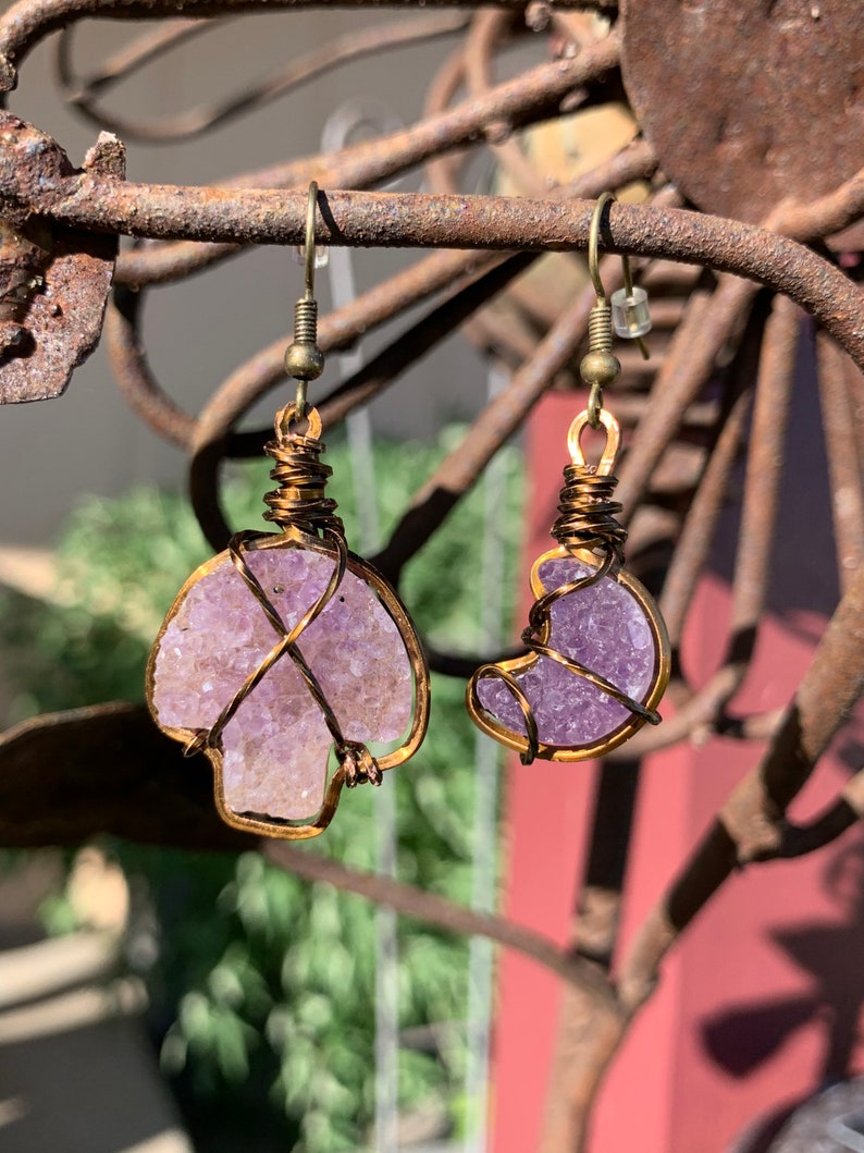 Miss matched amethyst mushroom and moon earrings