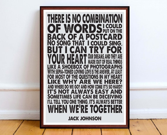 Jack Johnson Better Together Song Lyrics Art Print Etsy