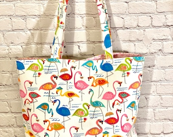Women's Flamingo Tote Bag! Beach bag, travel tote bag, weekender tote bag, school tote bag, boat bag, work bag, vacation tote bag, gift tote