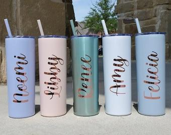 Personalized Tumbler, Insulated Tumbler, Custom Tumbler, Tumbler with Straw, Skinny Tumbler, Bridesmaid Proposal, Bridesmaid Gift