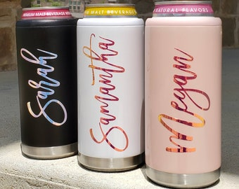 Personalized Slim Can Cooler, Custom Skinny Can Cooler, Stainless Cooler, Bridesmaid Gift, Bachelorette Party