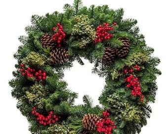Woodland Christmas Wreath   Fresh Christmas Wreath