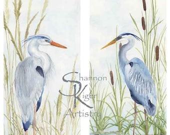 Great Blue Heron Original Watercolor Fine Art Prints: Available as set or individual prints