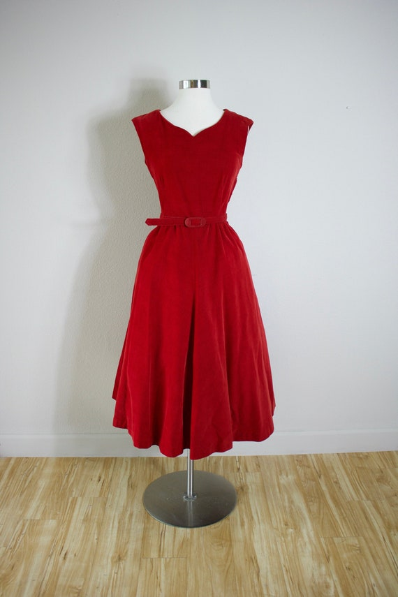 Vintage late 40's early 50's Red Corduroy Dress wi