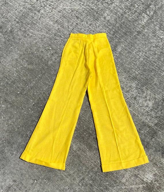 Vintage 70's yellow bell bottom pants // 70's fla… - image 4