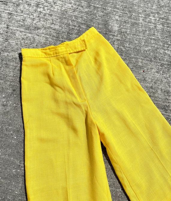Vintage 70's yellow bell bottom pants // 70's fla… - image 3