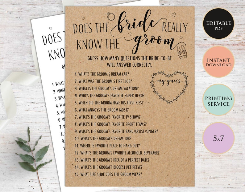 How Well Does the Bride Know the Groom Bridal Shower Games Printable  Instant Download Printed Games Rustic Wedding Shower Game Template PDF