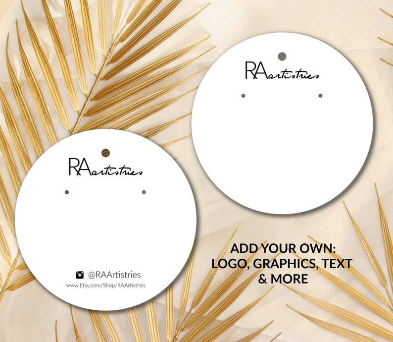 Round Circle Set of 25+ Custom Earring Holder Display Cards With Your Printed Logo Words For Jewelry Brand Label Packaging