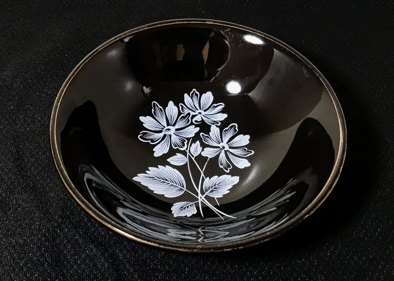 Black Frost Floral Design with Gilt Rim Vintage Wade PIN DISH Classic Design