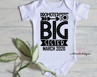 3a178bc16ecf8 Promoted to Big Sister Pregnancy Announcement Bodysuit | Pregnancy  Announcement | Baby Snapsuit | New Baby Announcement | Sister To Be