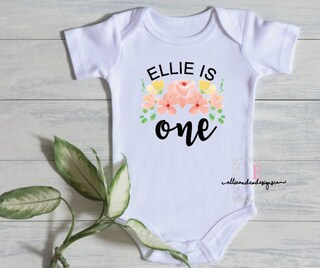 Personalized First Birthday Floral Bodysuit | Custom Floral First Birthday Romper | Floral Theme First Birthday Bodysuit | Shabby Chic Party