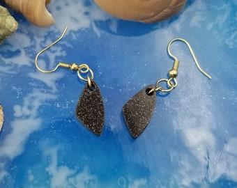 Brown Sparkle Dangle Earrings - Resin