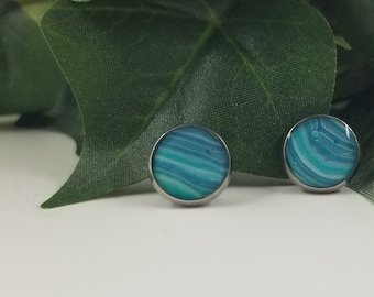 """Unique, One-of-a-kind Stud Earrings. 10mm (0.4"""").  Stainless Steel. Hypoallergenic. Wearable art.  Original. Teal, Green, White"""