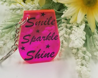 Smile. Sparkle. Shine Keychain. Gift for Her. Gift for Him. Gift for Teacher.