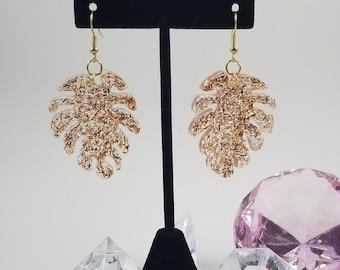 Unique Copper Tinsel Resin Leaf Dangle Earrings