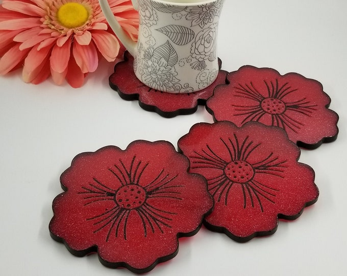 Featured listing image: Red Shimmer with Black Trim Geode Resin Flower Coasters