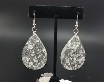 Unique Silver Leaf Dangle Earrings.
