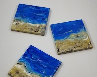 Coaster Set, Set of 3 Square Original Fluid Art Pour on Ceramic Tile.  Cork backing.