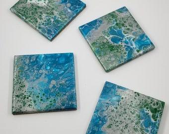 Coaster Set, Set of 4 Square Original Fluid Art Pour on Ceramic Tile.  Cork backing.