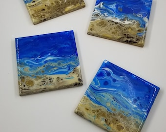 Ocean Coaster Set, Set of 4 Square Original Fluid Art Pour on Ceramic Tile.  Cork backing.