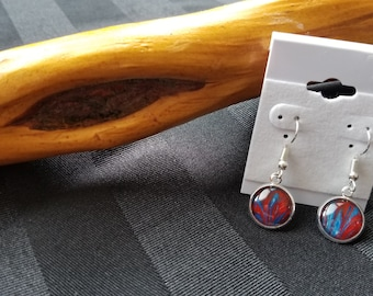 """Unique, One-of-a-kind Wire Hook Dangle Earrings. 14mm (0.5"""") Stainless Steel. Hypoallergenic. Wearable art.  Original.  Blue. Red."""