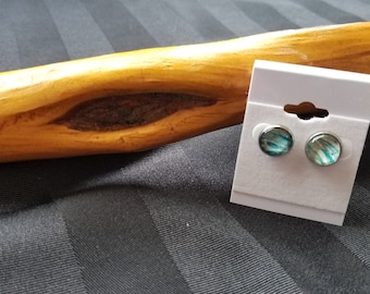 """Unique, One-of-a-kind Stud Earrings. 10mm (0.4"""").  Stainless Steel. Hypoallergenic. Wearable art.  Original. Silver. Blue"""