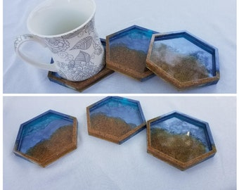 Day at the Ocean Resin Coasters