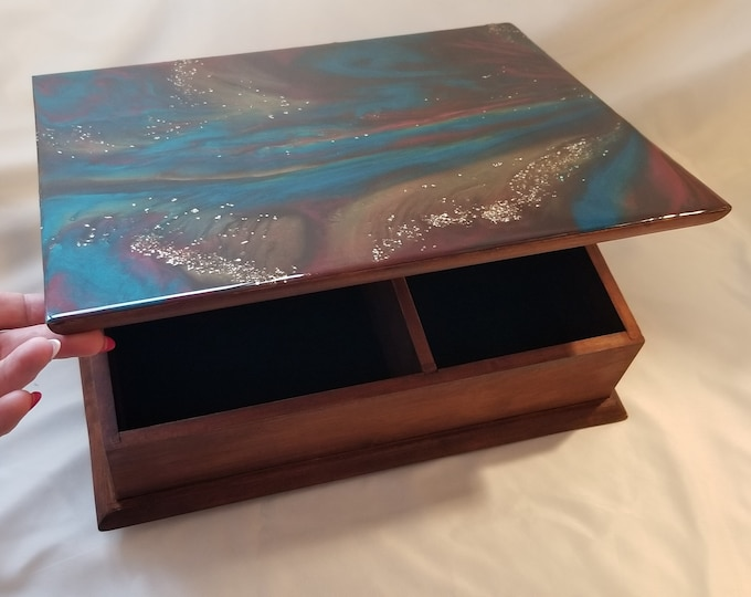 Featured listing image: Designer Box. Upcycled. Resin Top.  Cutlery or Jewelry