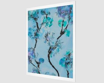 Fairy Forest Art Print.  Wall Art.  Wall Décor.  Wall Decoration. Flower. Blue