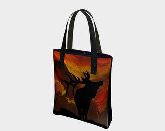 Wild Sunset Tote Bag. Book Bag. Gift for Book Lovers. Gift for Her. Gift for Him.  Art. Vegan Leather or Cotton. Elk. Sunset