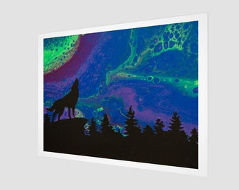 Northern Howl Art Print.  Wall Art.  Wall Décor.  Wall Decoration.  Wolf. Northern Lights. Aurora. Forest.