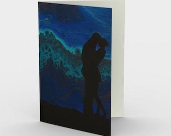 Northern Lovers Blank Card. Art Card. Gift for Her. Gift for Him. Original Artwork.  Northern Lights.  Aurora.