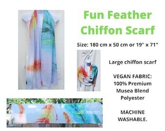 Fun Feather Chiffon Scarf.