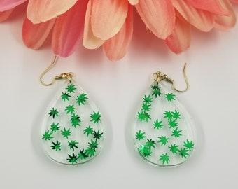 Marijuana Leaf Dangle Earrings.