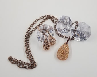 Copper Sparkle Teardrop 3pc Jewelry Set