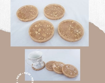 Peach & Gold Round Resin Coasters