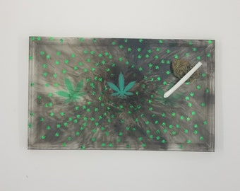 Resin Weed Leaf  Rolling Tray. Serving Tray. 420. Bud. Weed. Cannabis