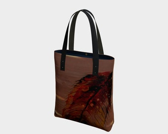 Fall Feathers Tote Bag. Book Bag. Gift for Book Lovers. Gift for Her. Gift for Him.  Art. Vegan Leather or Cotton. Bird