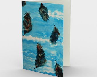 Feathers in the Sky Blank Card. Art Card. Gift for Her. Gift for Him. Original Artwork