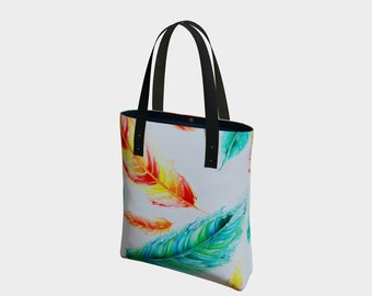 Feather Tote Bag. Book Bag. Gift for Book Lovers. Gift for Her. Gift for Him.  Art. Vegan Leather or Cotton