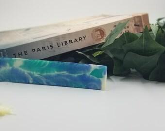 Blue & White Resin Bookmark