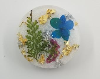 Blue. Purple.  Dried Flower. White Base Resin holder/stand, Custom Grip, Gift for Her, Gift For Friend, Gift for Him, Multimedia Holder