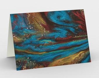 Galaxy Lights Blank Card. Art Card. Gift for Her. Gift for Him. Original Artwork. Space