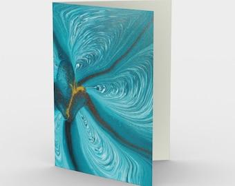 Blue Bloom Blank Card. Art Card. Gift for Her. Gift for Him. Original Artwork.  Flower