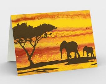 The Walk Blank Card. Art Card. Gift for Her. Gift for Him. Original Artwork. Safari. Elephants. Africa. Sunset