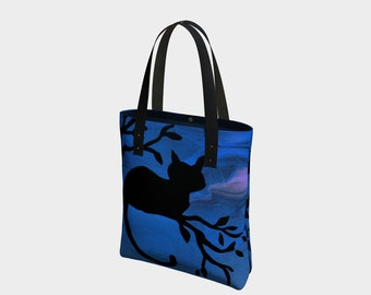 The Watch Tote Bag. Book Bag. Gift for Book Lovers. Gift for Her. Gift for Him.  Art. Vegan Leather or Cotton. Cat. Night
