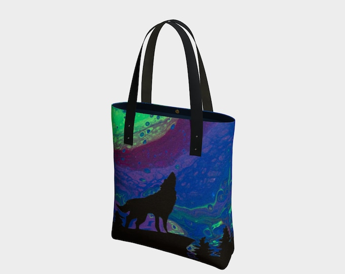Featured listing image: Northern Howl Tote Bag. Book Bag. Gift for Book Lovers. Gift for Her. Gift for Him.  Art. Vegan Leather or Cotton. Wolf. Northern Lights