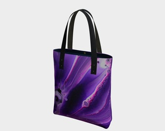 Playful Purples Tote Bag. Book Bag. Gift for Book Lovers. Gift for Her. Gift for Him.  Art. Vegan Leather or Cotton
