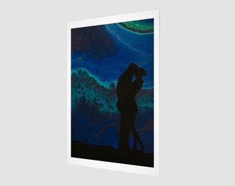 Lovers Art Print.  Wall Art.  Wall Décor.  Wall Decoration. Northern Lights. Love. Aurora. Couple. Silhouette.