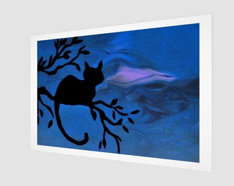 Night Watch Art Print.  Wall Art.  Wall Décor.  Wall Decoration. Cat. Night. Outside. Tree